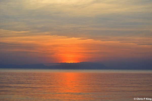 Pastel Coloured Sea and Sunset at Phu Quoc from Rabbit Island (Koh Tonsay) Cambodia