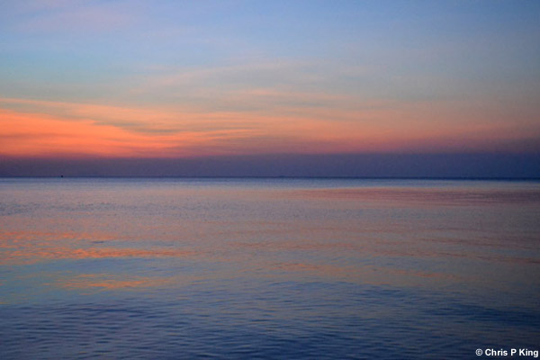 Pink Sunset on Blue Sea and Sky from Rabbit Island (Koh Tonsay) Cambodia