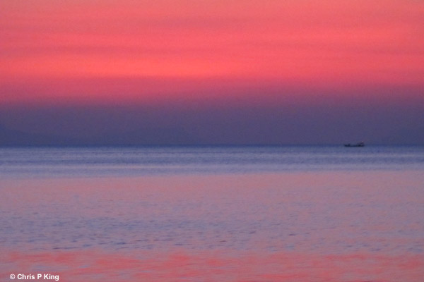 Pink and Blue Sunset and Sea from Rabbit Island (Koh Tonsay) Cambodia