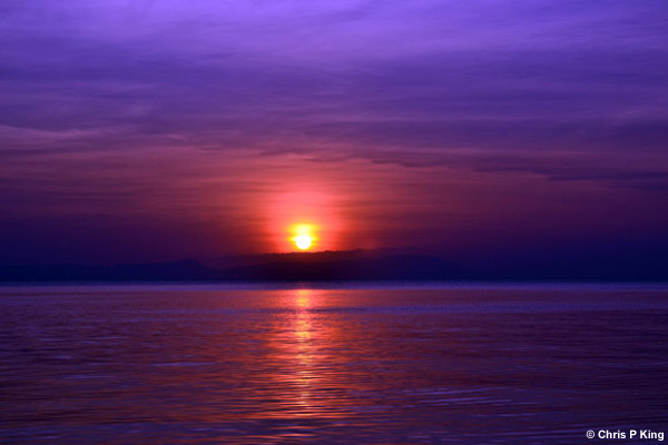 Purple Sea and Sunset at Phu Quoc Island from Rabbit Island (Koh Tonsay) Cambodia