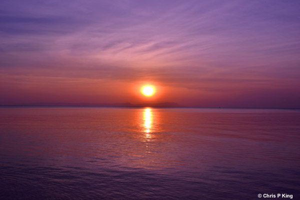 Purple Sunset and Sea from Rabbit Island (Koh Tonsay) Cambodia